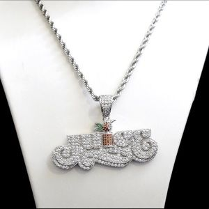 Other - White Gold Finish Lab Diamond JUICE Charm Chain